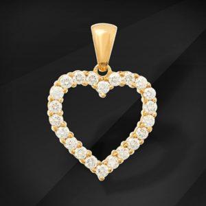 Diamant hjerte i guld